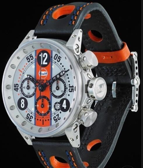 Replica B.R.M Watch V12-44 Gulf V12-44-GU-G-AG-2 Brushed Stainless Steel - Grey Dial