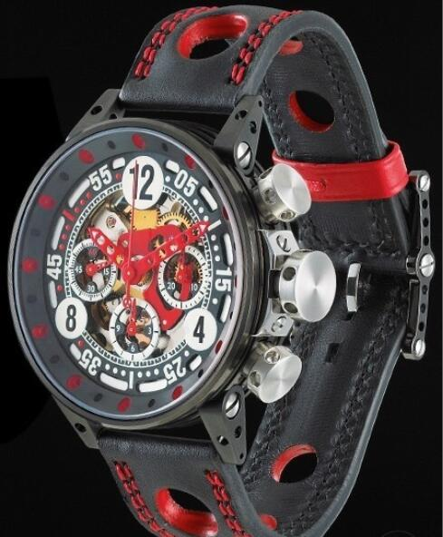 Replica Watch B.R.M V12-44 Sport B.R.M Watch V12-44 V12-44-SPORT-AR Black PVD Brushed Stainless Steel - Leather Strap
