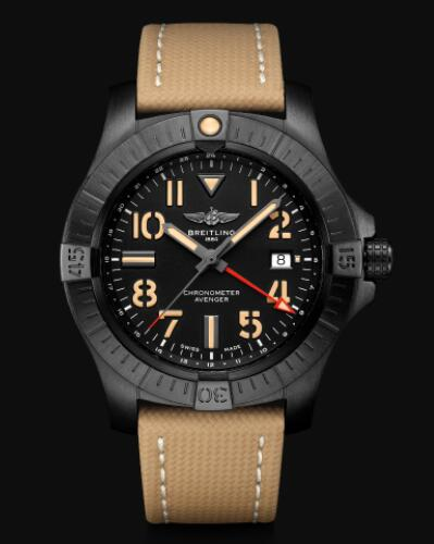 Replica Breitling Avenger Automatic GMT 45 Night Mission DLC-Coated Titanium - Black Bold Watch V32395101B1X2