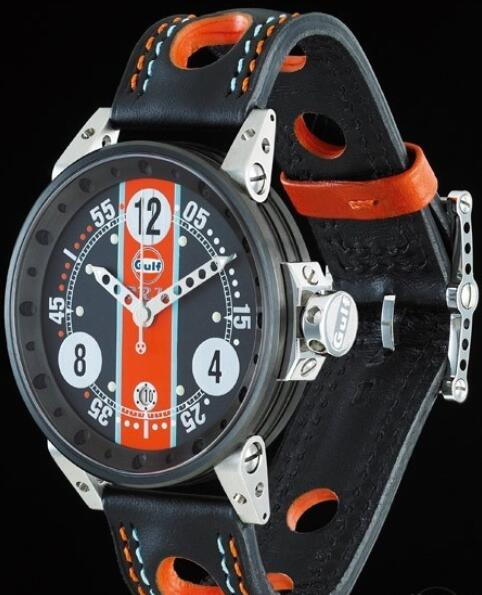 B.R.M Watch Fake V6-44 Gulf V6-44-GU-N-AG-1 Brushed Stainless Steel - Black Dial
