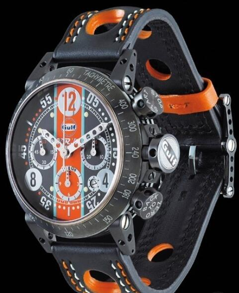 Replica B.R.M GUL Watch V8-44 Gulf V8-44-GU Black PVD Brushed Stainless Steel