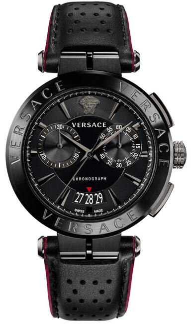 Versace Aion Chronograph 45mm VBR030017 Black Leather watch Review
